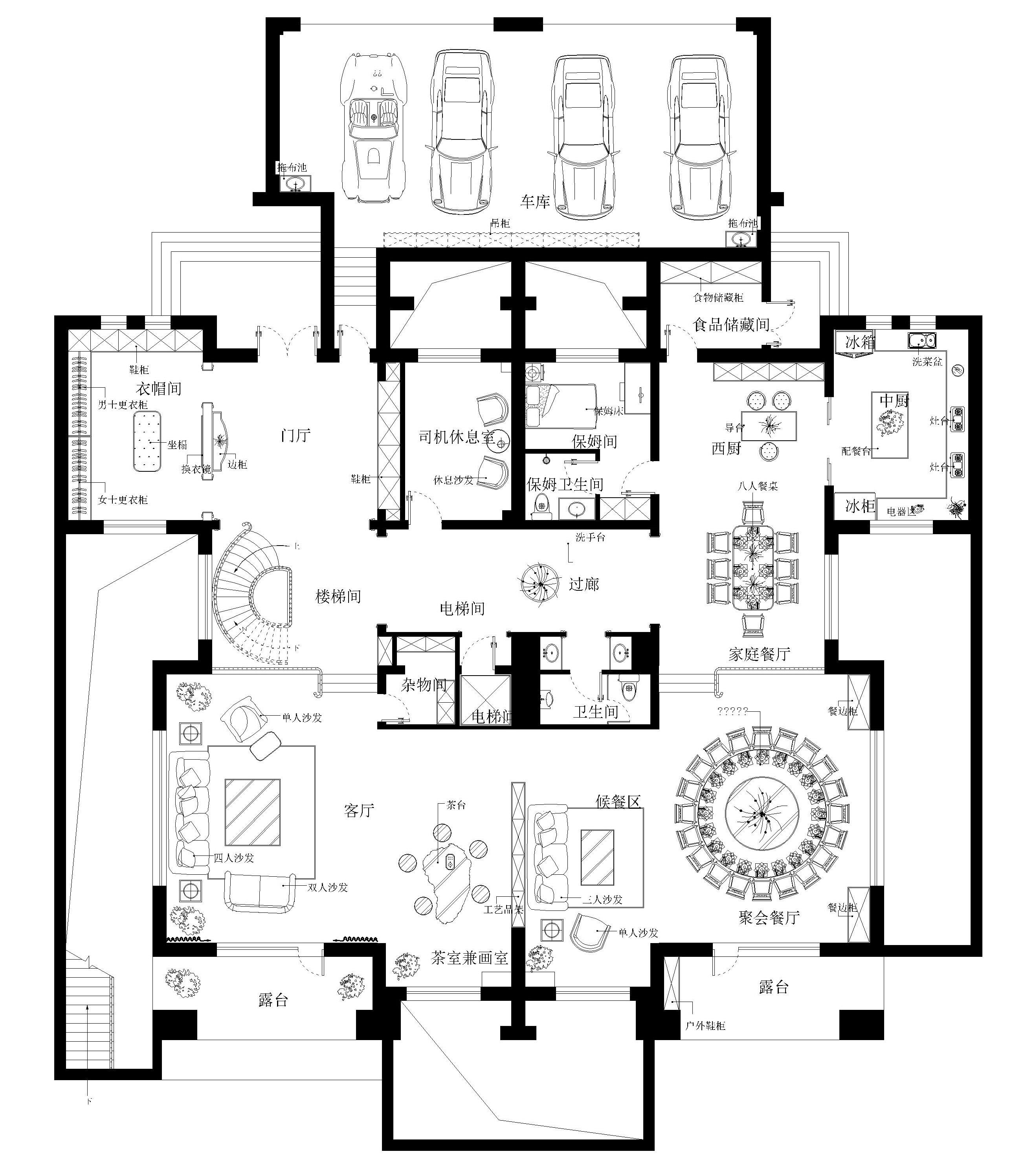 果岭公馆美式乡村1300㎡别墅装修效果图装修设计理念