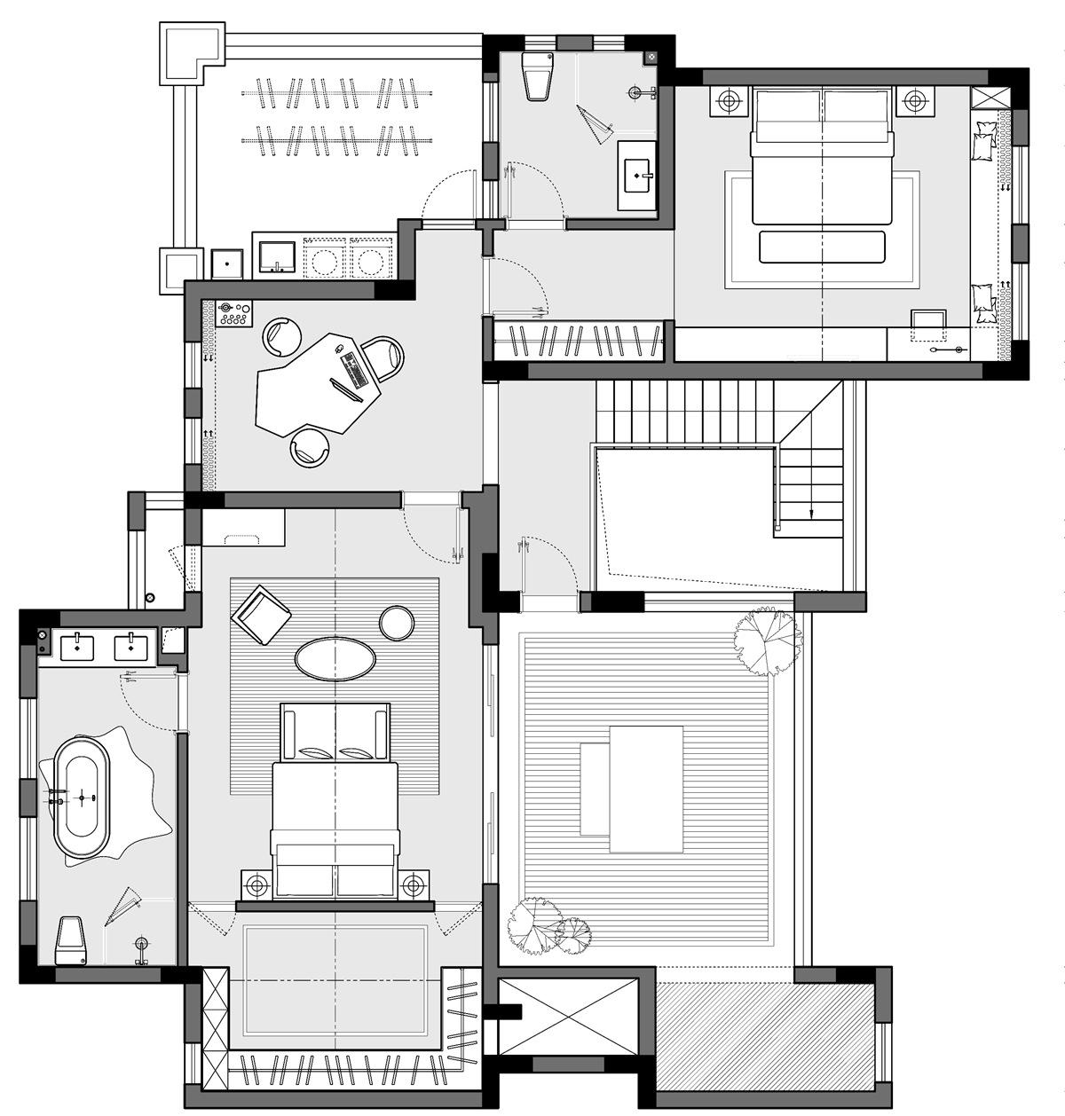 中央洋房330平现代简约洋房装修设计理念