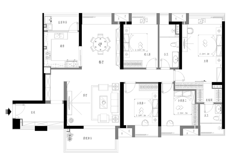 保利东景新中式158㎡装修效果图装修设计理念