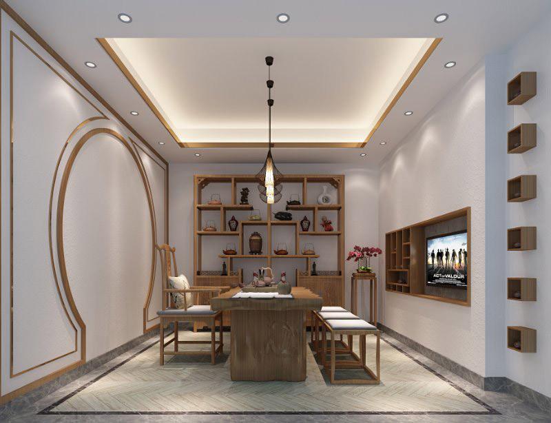 锦绣山河观园超大平层茶室效果图