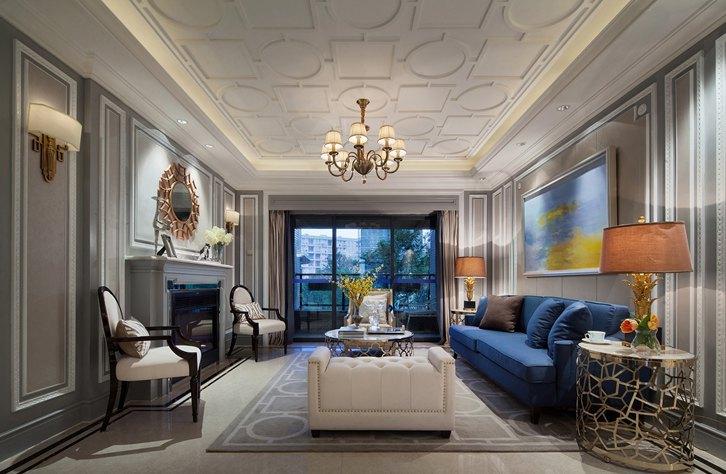 武汉室内装修1:美式客厅窗帘搭配
