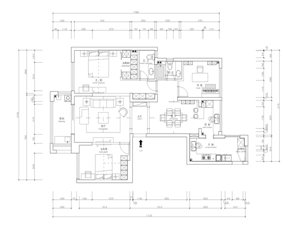 名门府140平米新古典风格装修设计理念