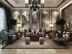 7套新中式别墅现代客厅装修效果图案例