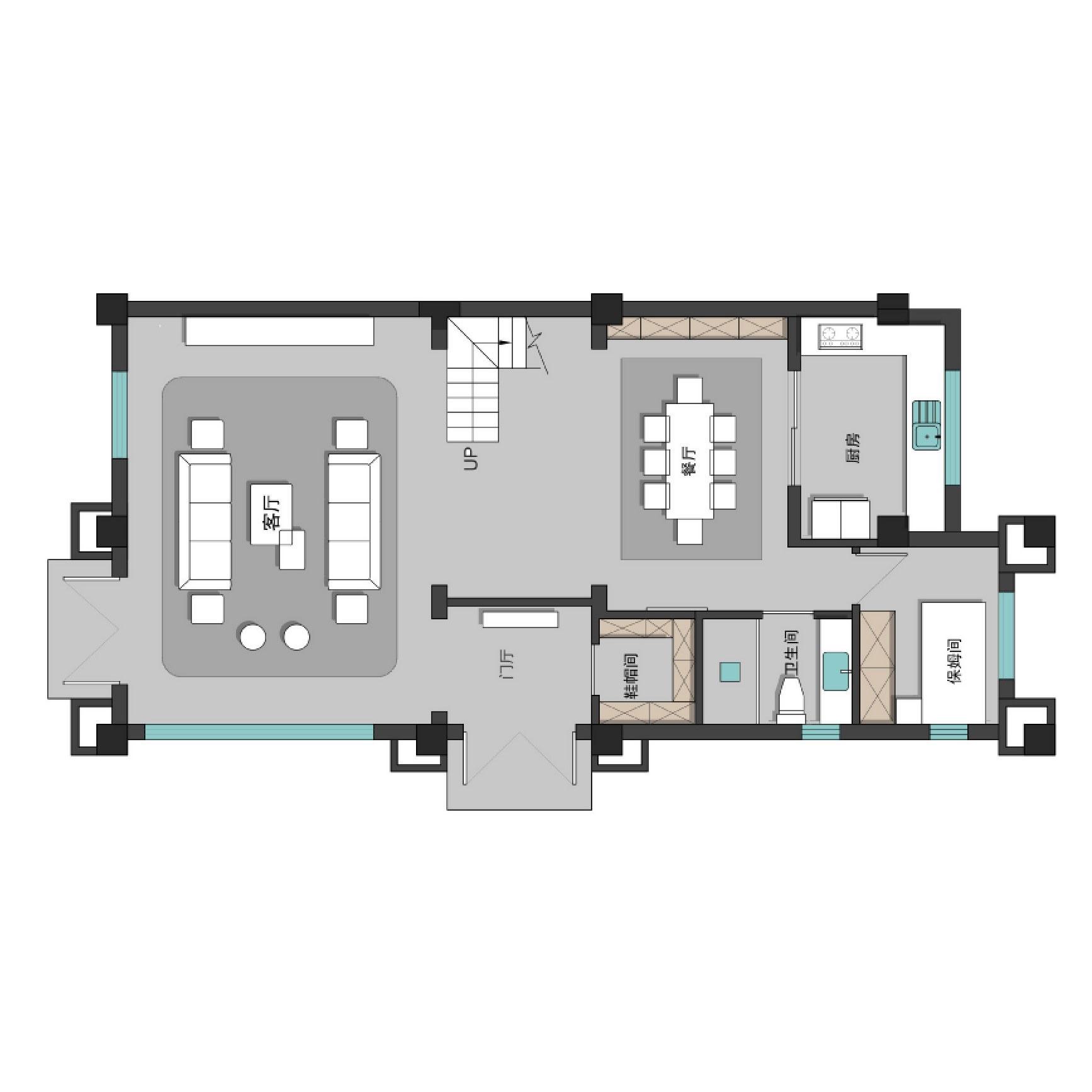 新中式风格装修效果图丨中洲中央公园260㎡五居室装修案例装修设计理念