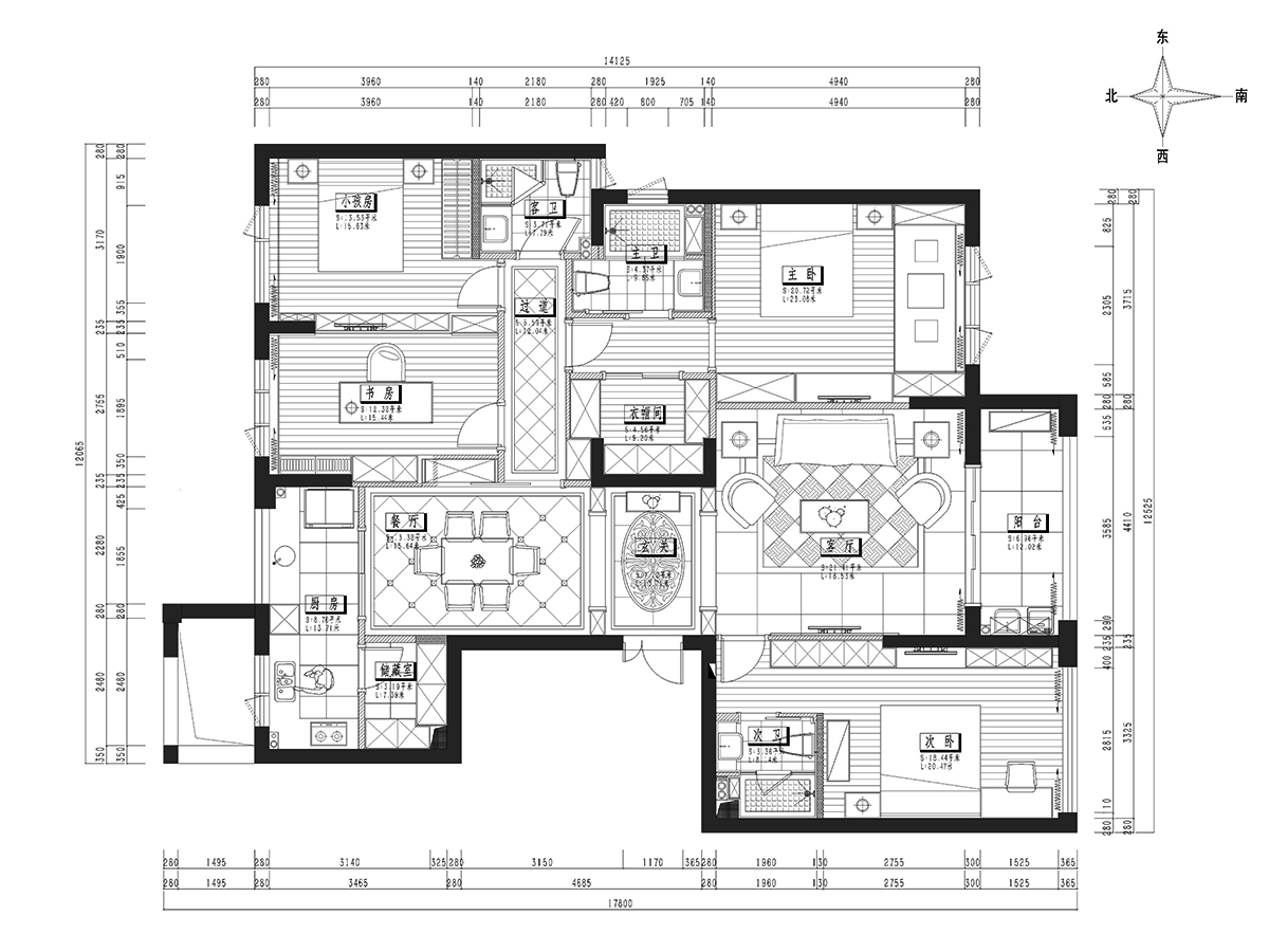 名门府新中式风格182平米装修设计理念
