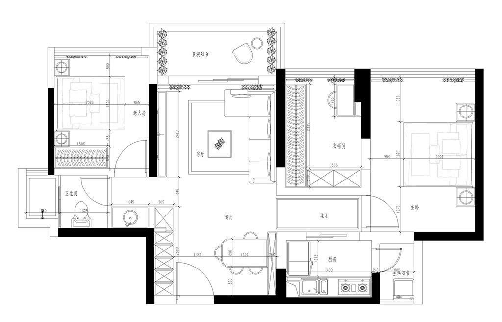 深圳华业玫瑰四季馨园装修效案例-92㎡现代简约二房二厅装修效果图装修设计理念