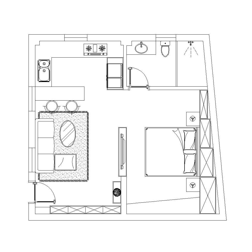现代简约风格装修效果图丨田森·奥林春天72平两居装修案例装修设计理念