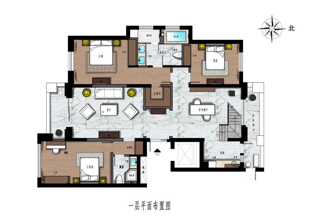 欧景名城360m²-现代美式装修设计理念