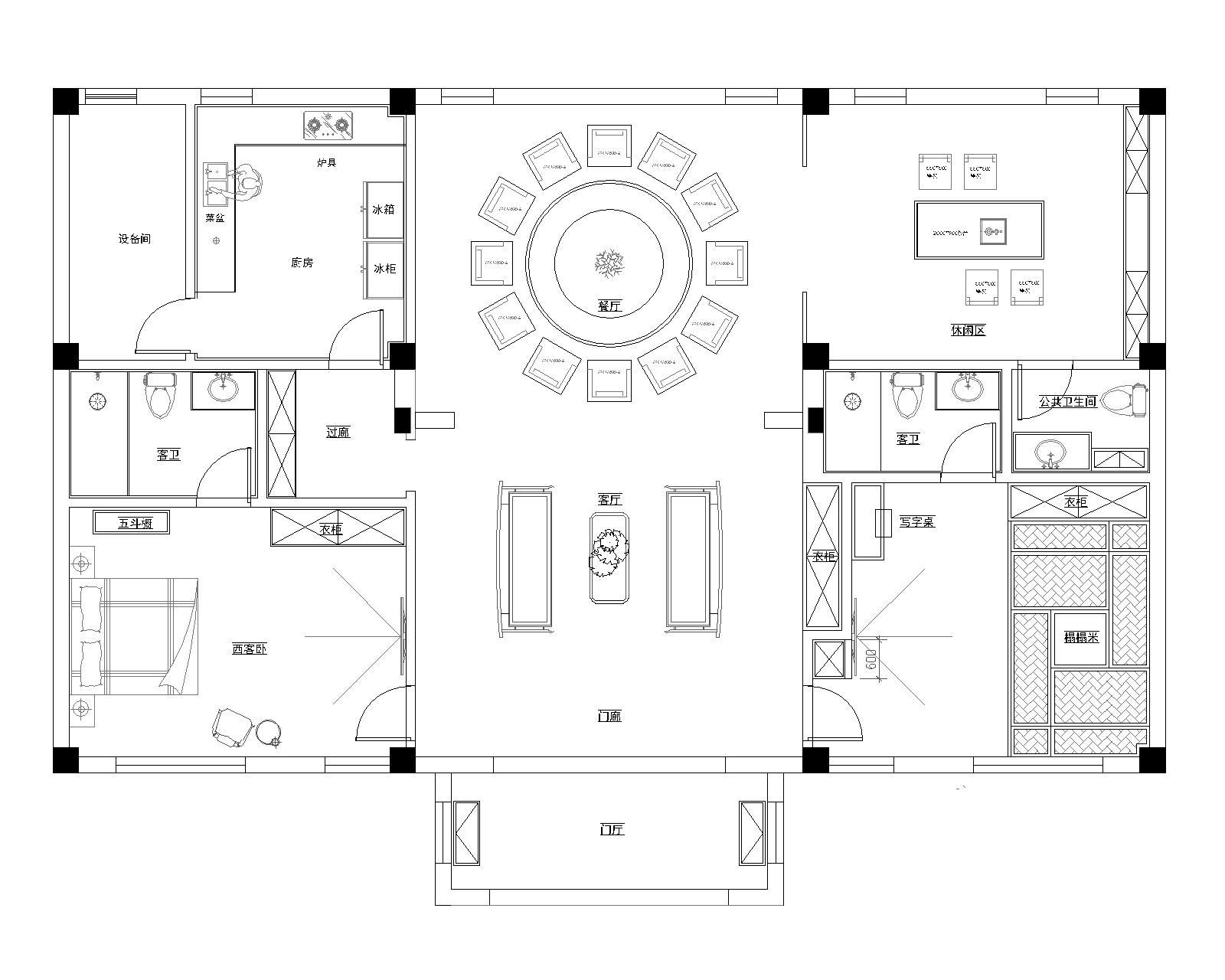 抚顺自建会所420平新中式风格装修效果图装修设计理念