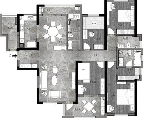 复地东湖国际港式风格198平米装修效果图装修设计理念