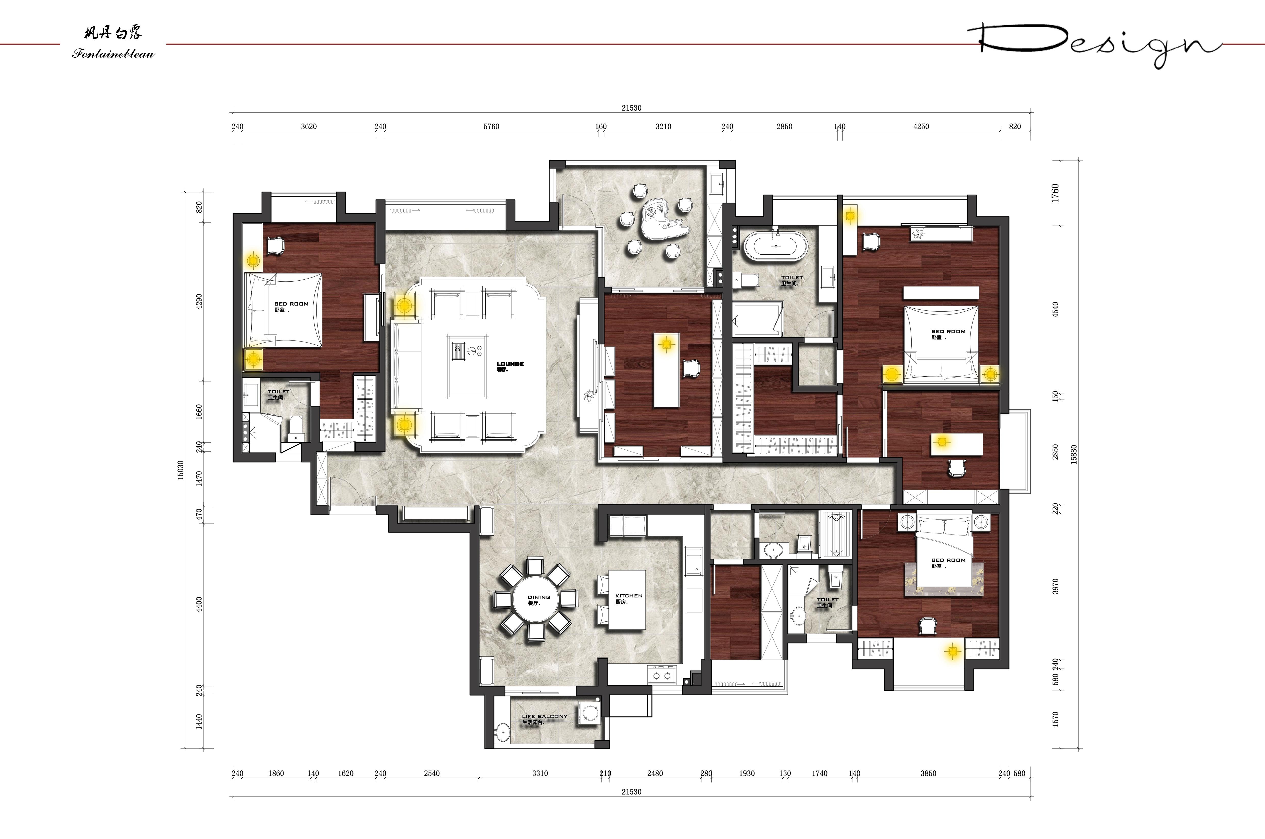 中信凯旋城枫丹白露 298㎡中式风格五房二厅 装修效果图装修设计理念