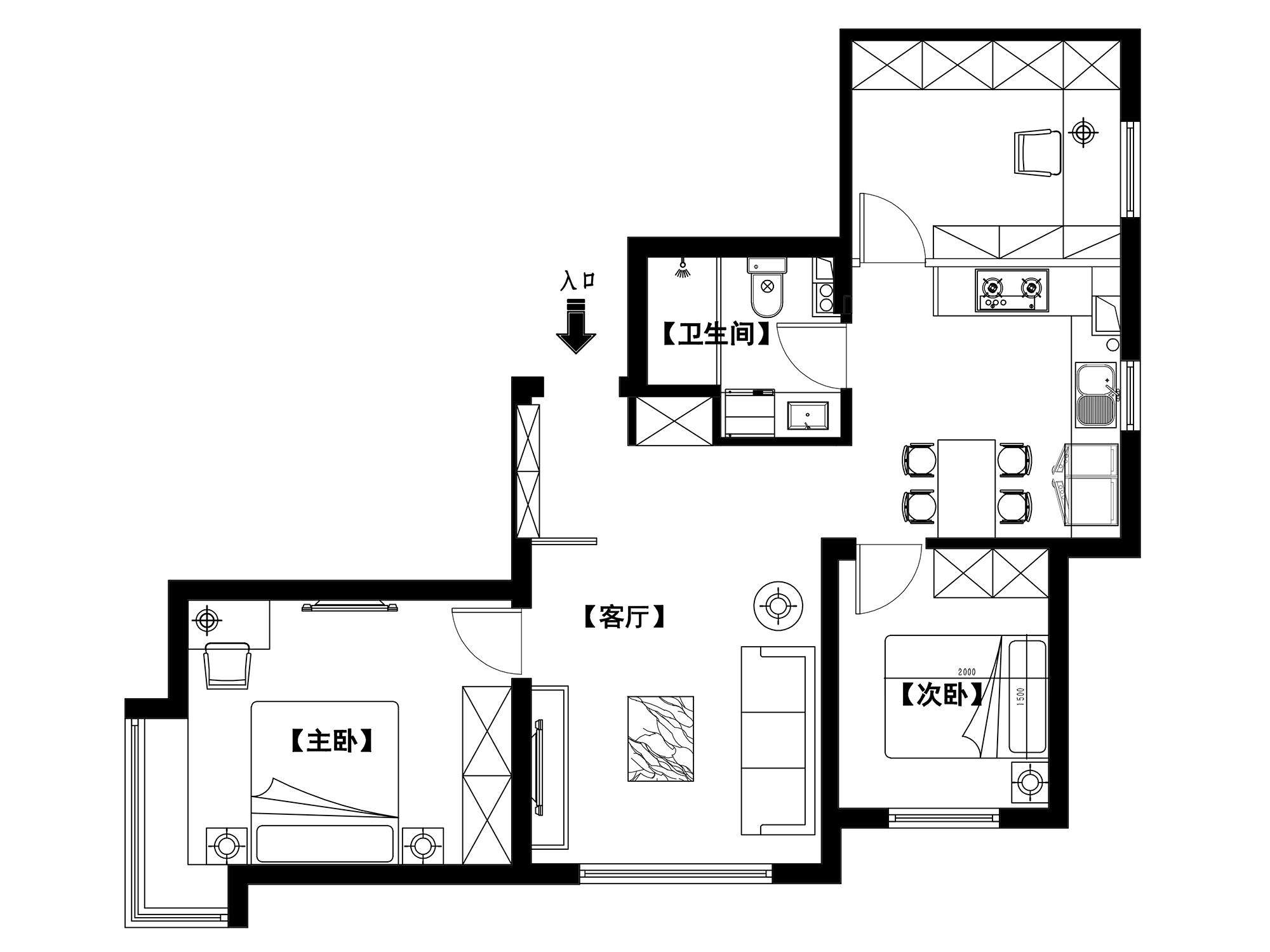朗香邸80平简欧风格案例装修设计理念