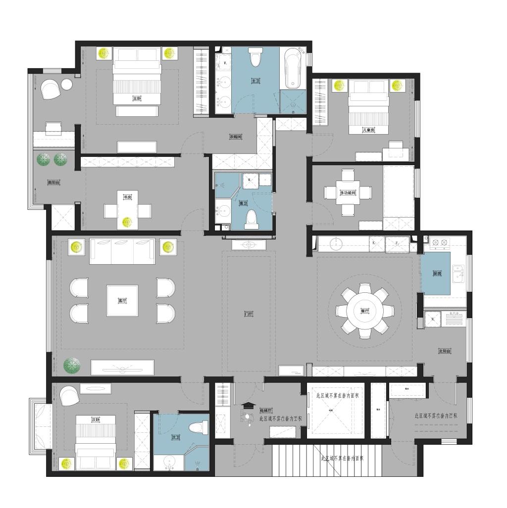统建新村-240平米-新中式装修设计理念