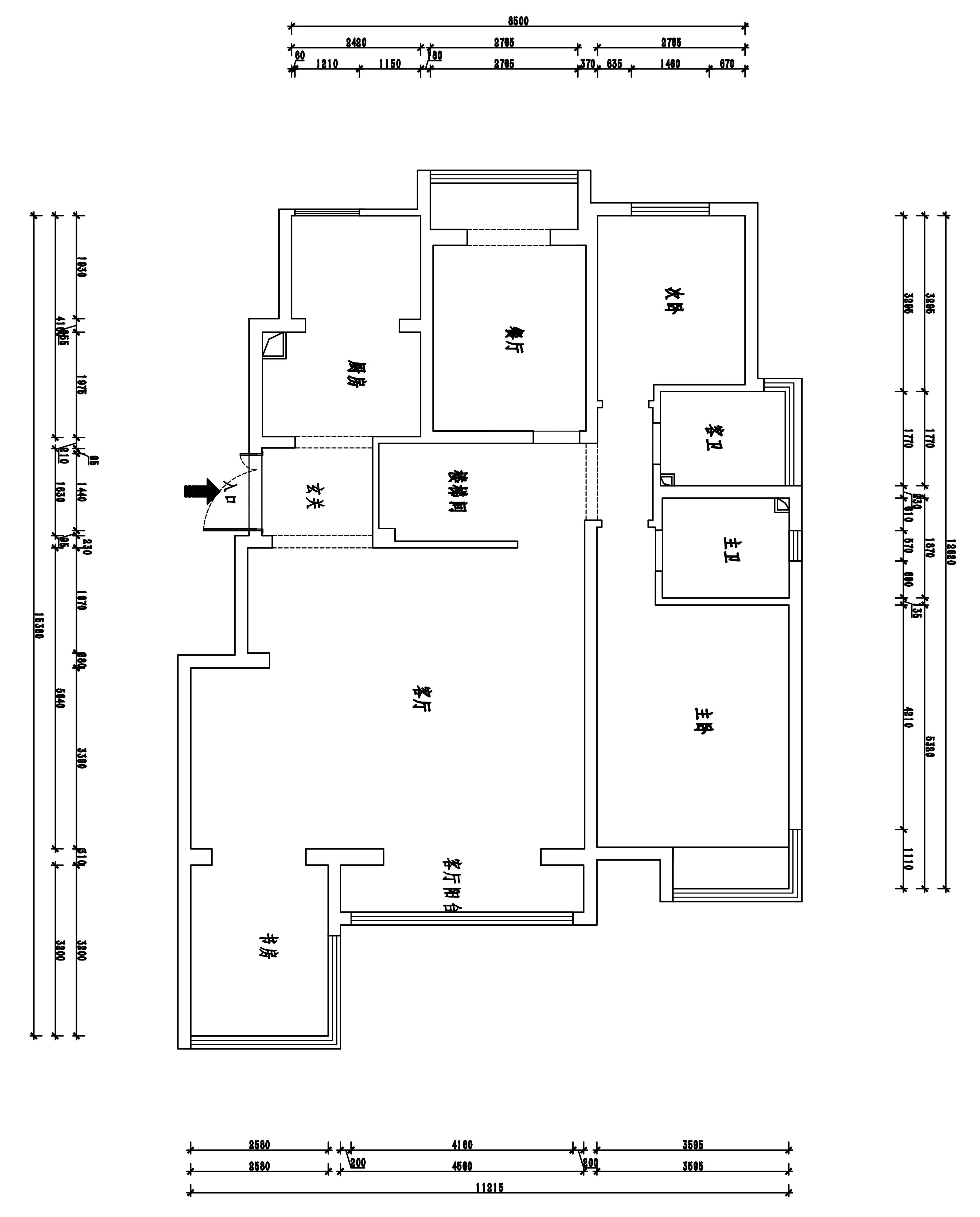 天山熙湖227平六室三厅新中式风格装修案例装修设计理念