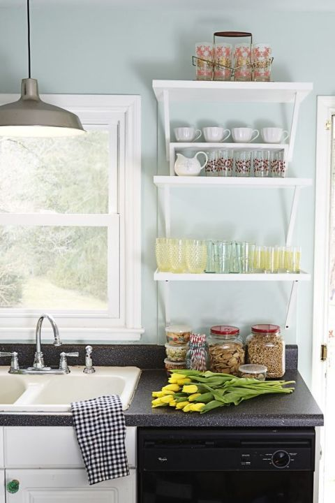 淡蓝色厨房效果图