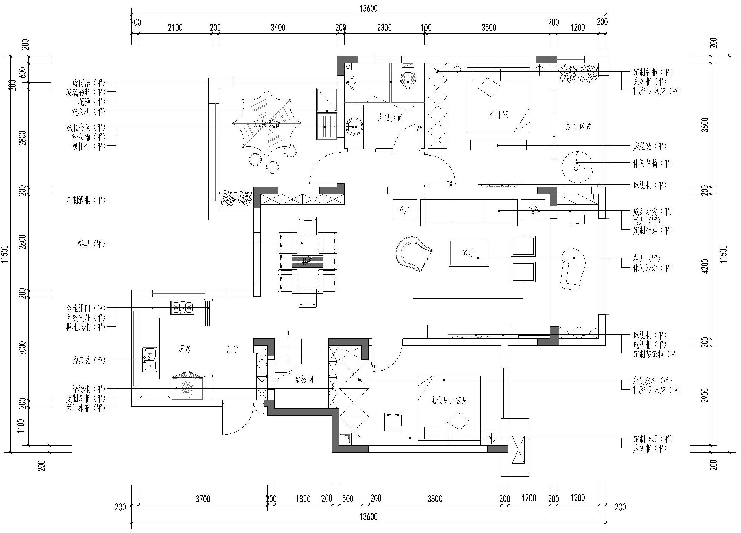 金科天宸+180平米跃层效果图+后现代风格装修设计理念