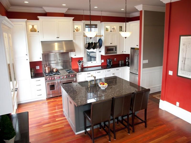 酒红色厨房效果图