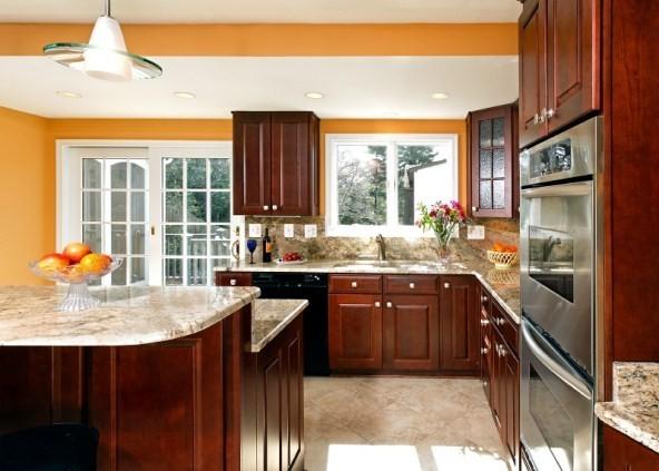 柑橘色厨房效果图