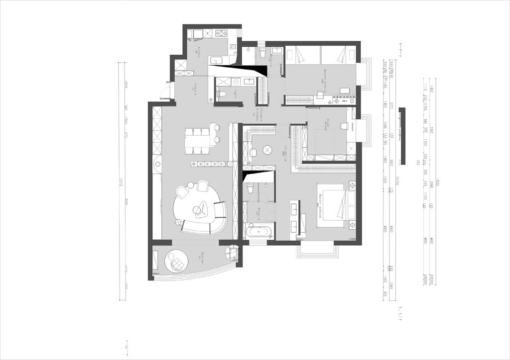 御景园-200平米-现代-装修效果图装修设计理念