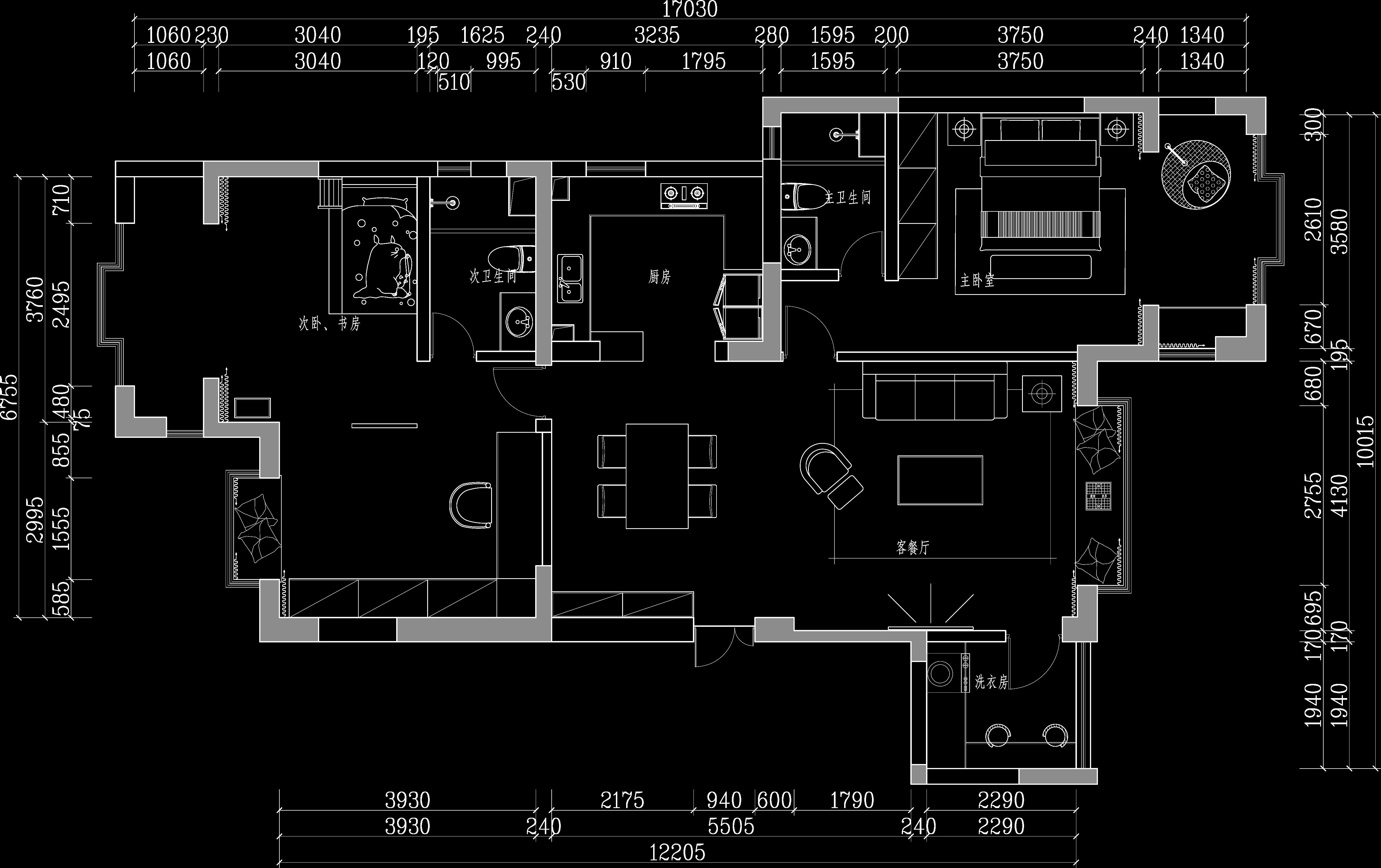 滇池卫城-100㎡现代风格装修效果图装修设计理念