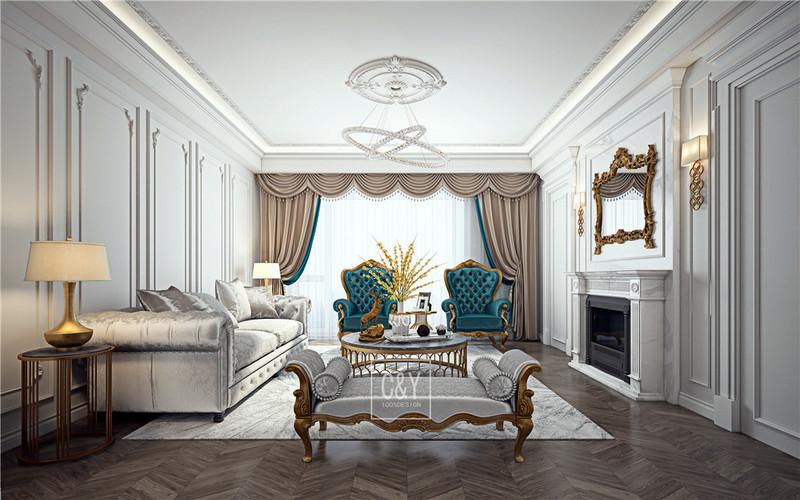 129平米现代风格装修-客厅
