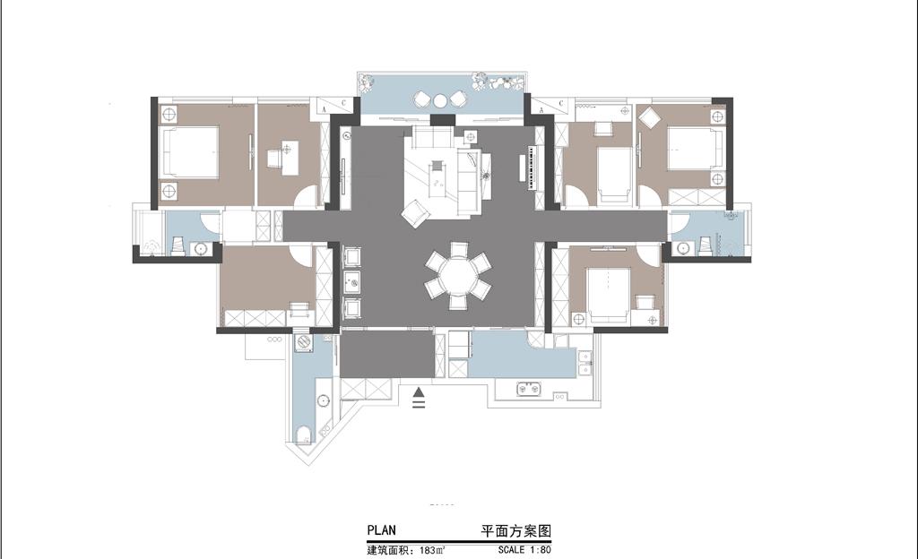 华润城 新中式风格 160平米 6房2厅 装修效果图装修设计理念