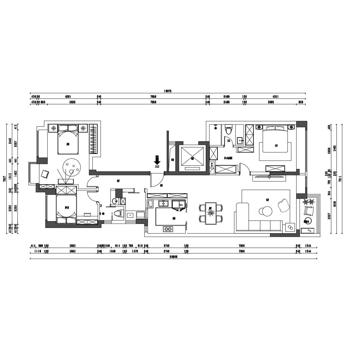 146㎡三居室新中式风格装修效果图丨南城都汇装修案例装修设计理念