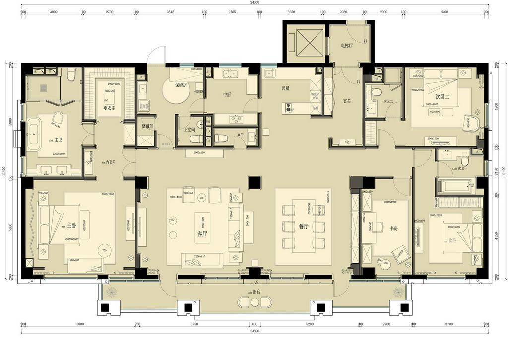 华侨城新中式风格350平米装修效果图装修设计理念