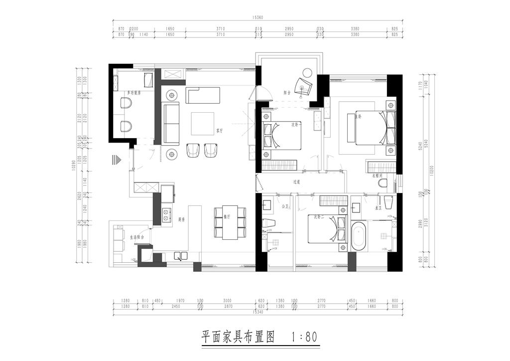 香山美墅-175平米-简约轻奢风格装修设计方案装修设计理念