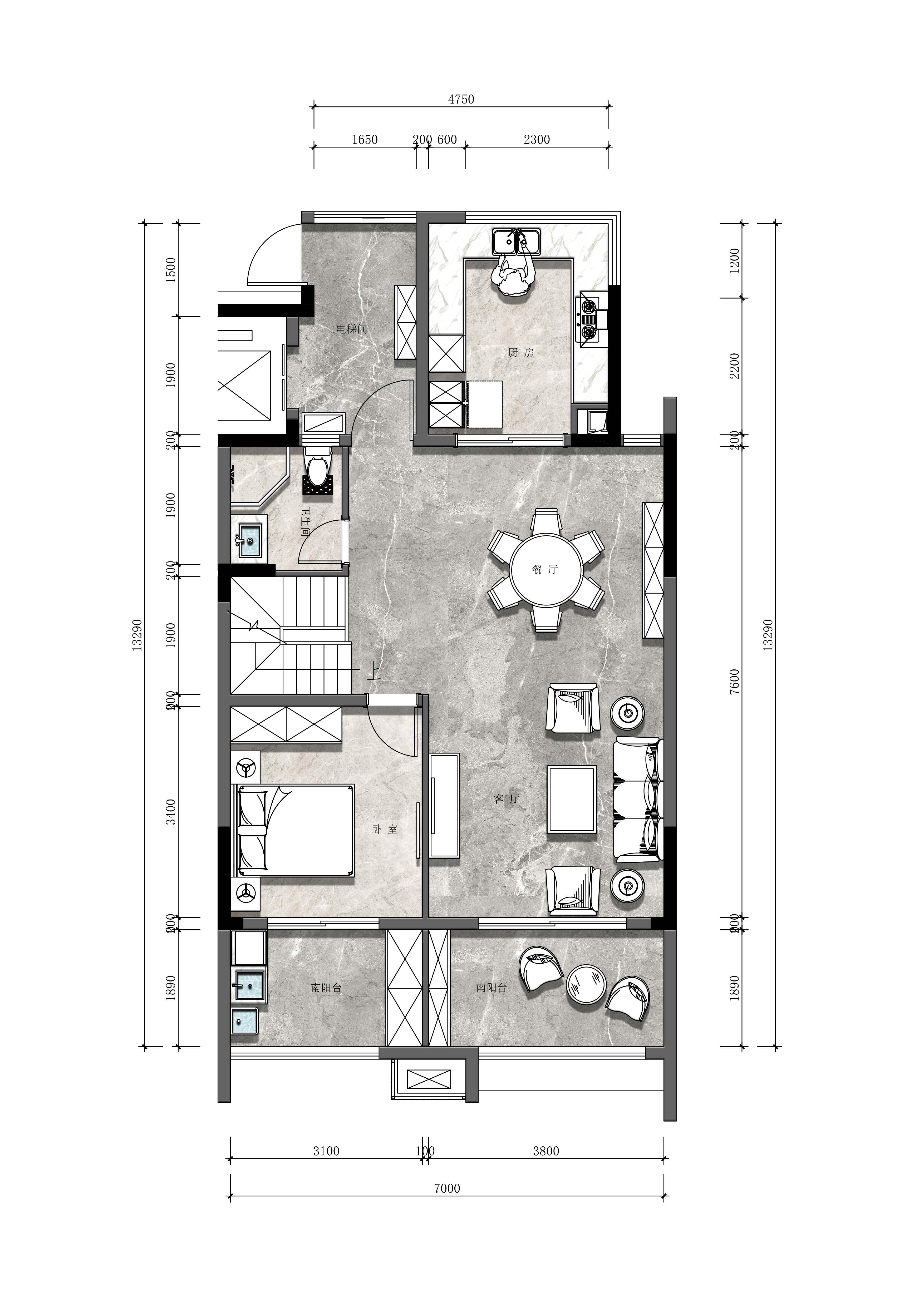 140平-现代风格-中航樾园装修效果图装修设计理念