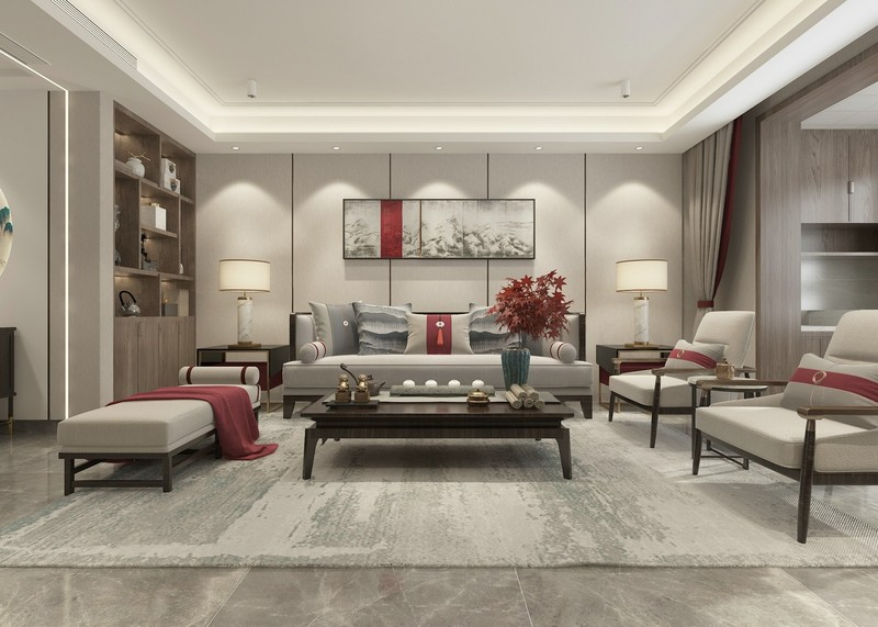 新中式风格装修设计-客厅装修效果图