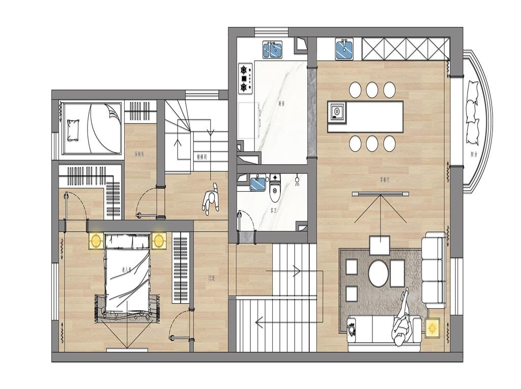 龙湾别墅 260㎡现代都市装修设计理念