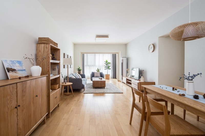 78平米三居室旧房改造装修案例,日式风装修效果图