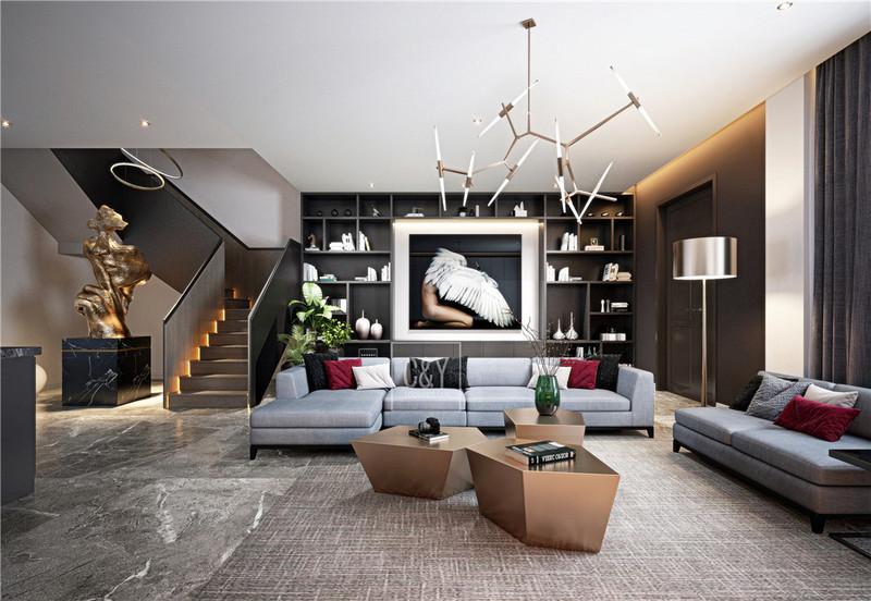 132平米美式简约风格装修-客厅