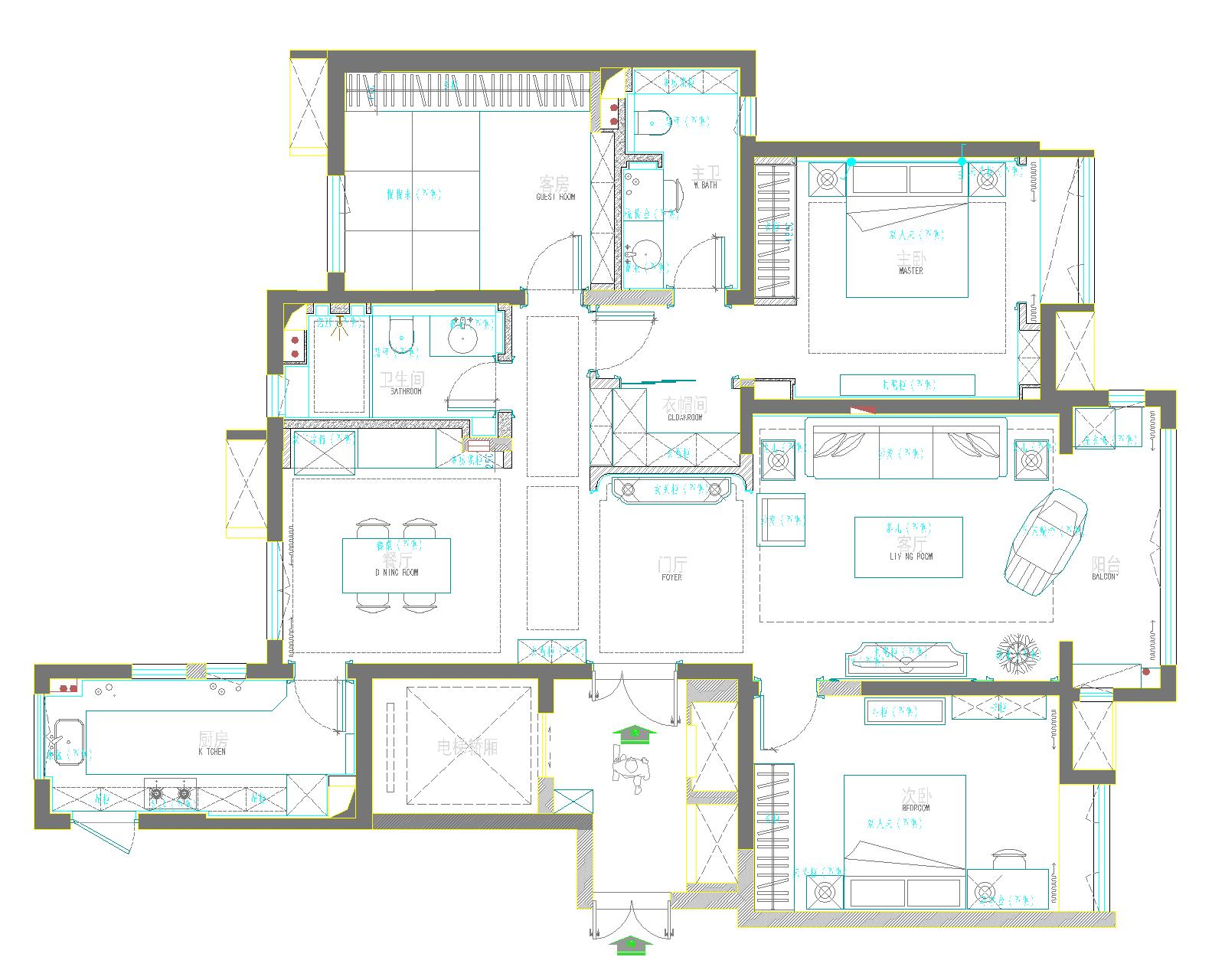 新中式装修效果图 首开国风琅樾165平三室两厅装修案例装修设计理念