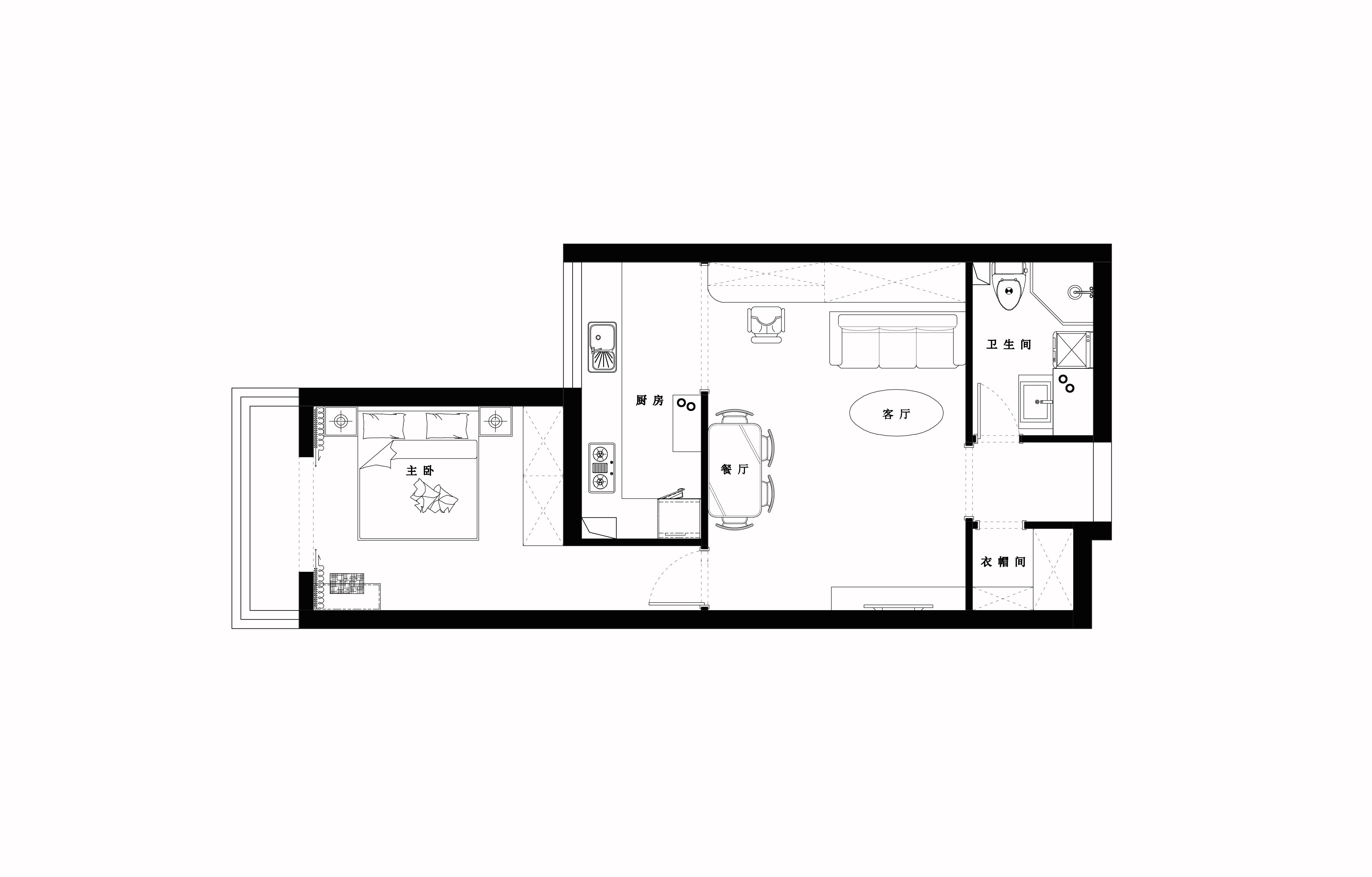 金桥国际公寓-73平米-美式装修设计理念