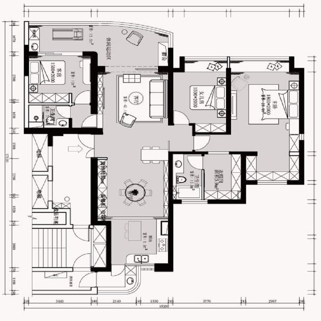 上海银河丽湾150平现代简约风格装修效果图装修设计理念