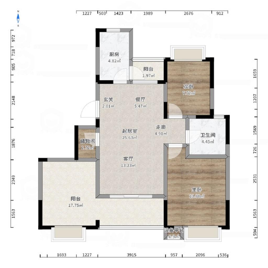 信达水岸茗都88平北欧风格两室两厅装修案例装修设计理念