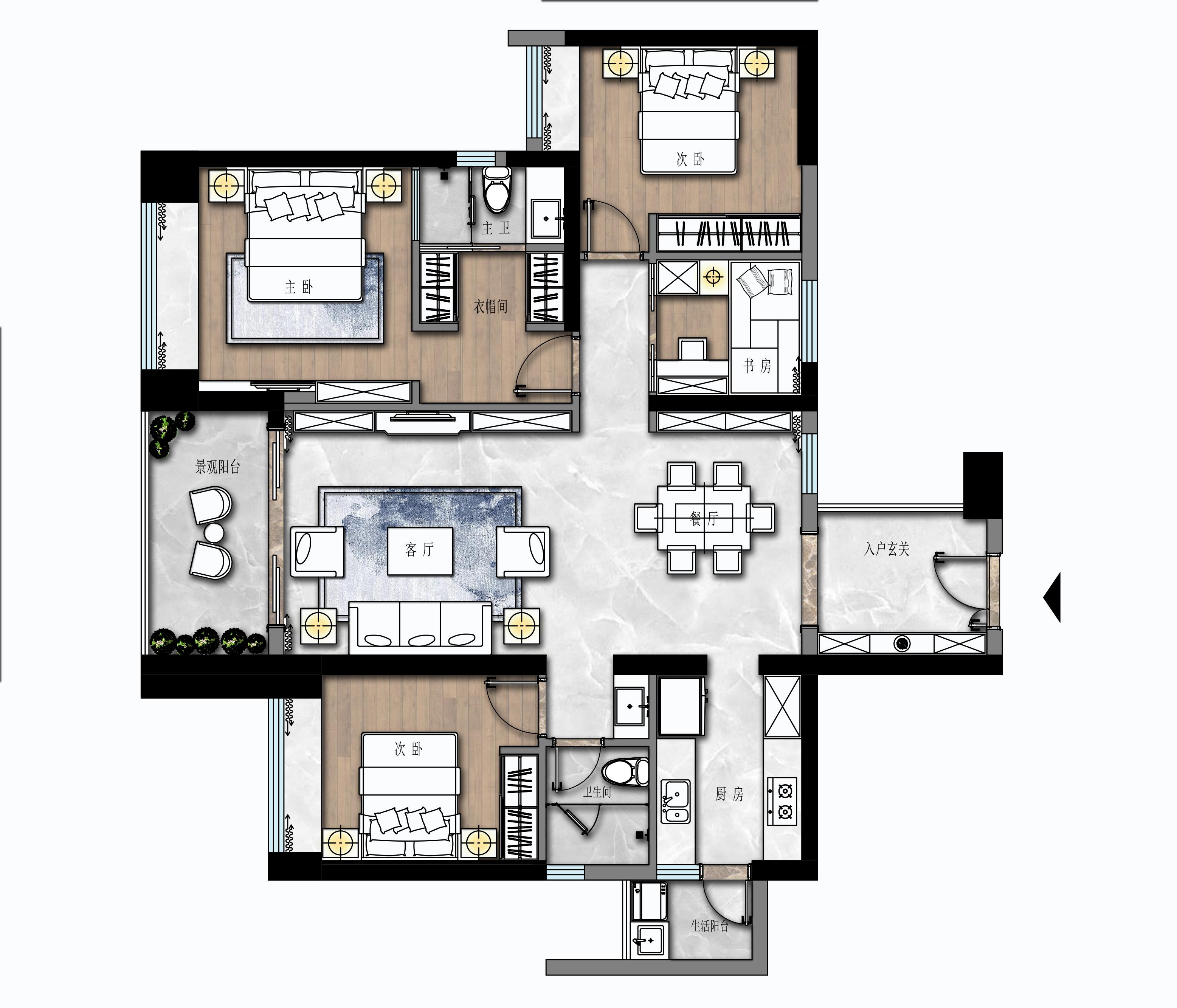 绿景红树湾壹号139㎡-现代简约风格案例-高端装修效果图装修设计理念