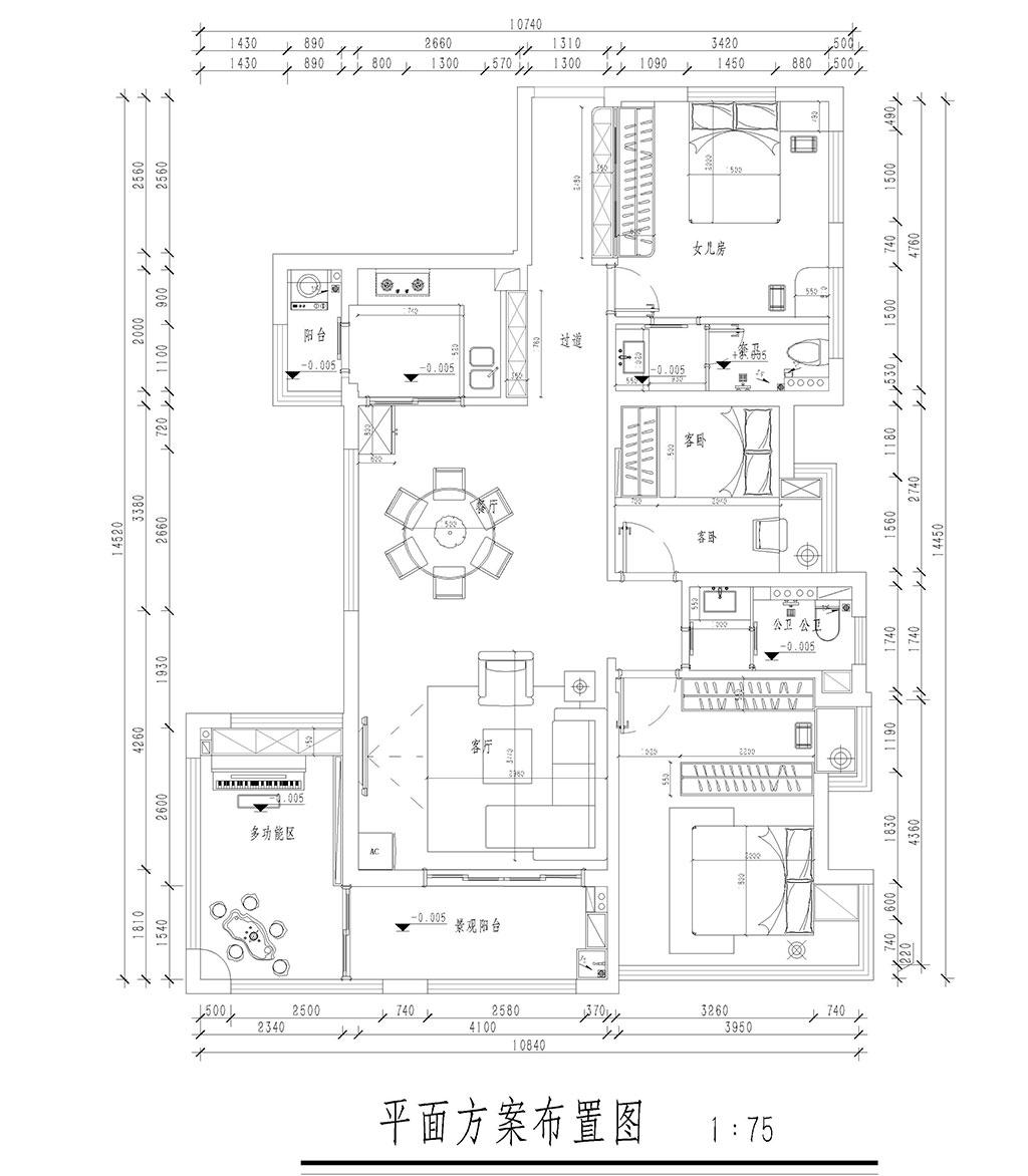 丰泰凌峰花园136㎡家装案例-北欧混搭装修效果图装修设计理念