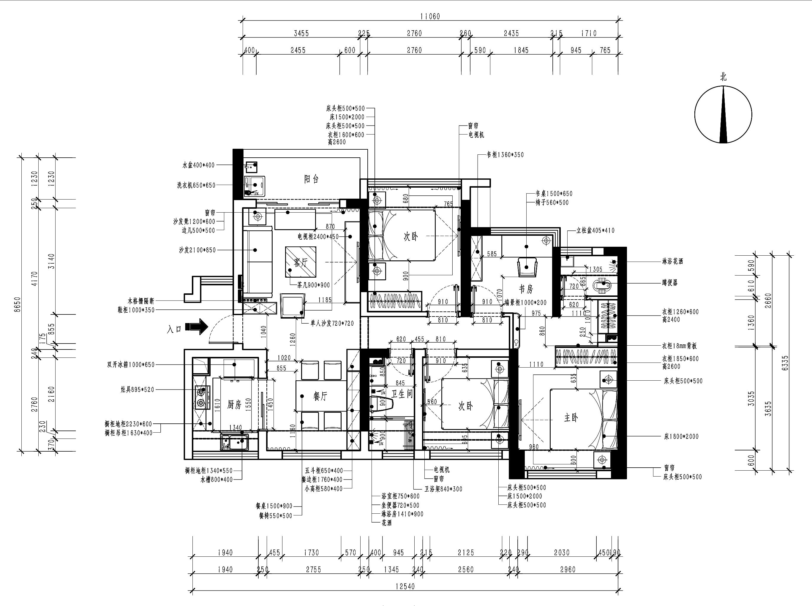 深业东岭89㎡-北欧风格设计-三居室装修效果图装修设计理念