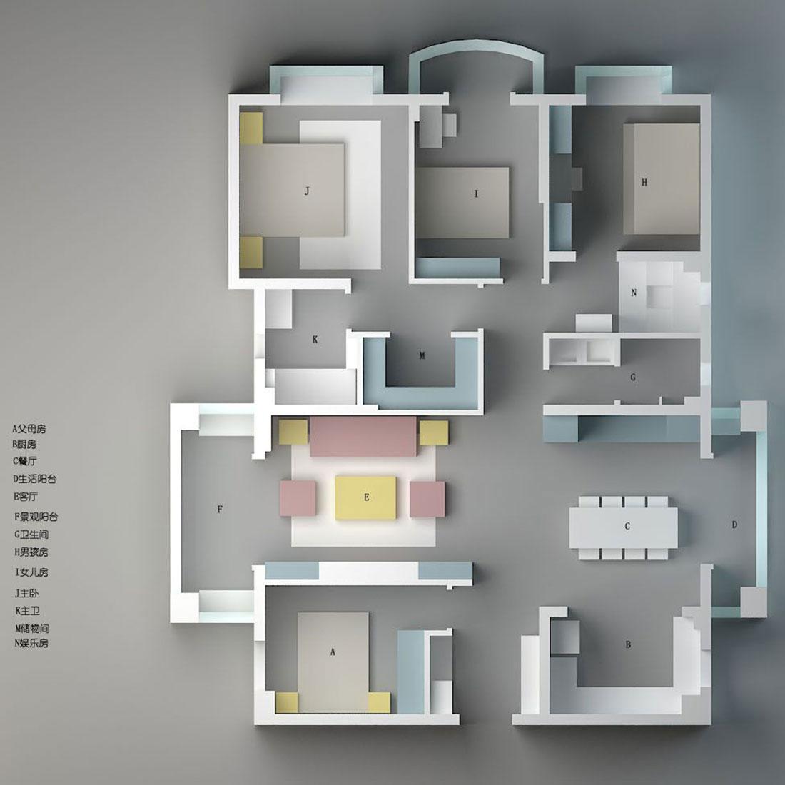 美式风格装修效果图丨温莎国际160㎡四居室装修案例装修设计理念