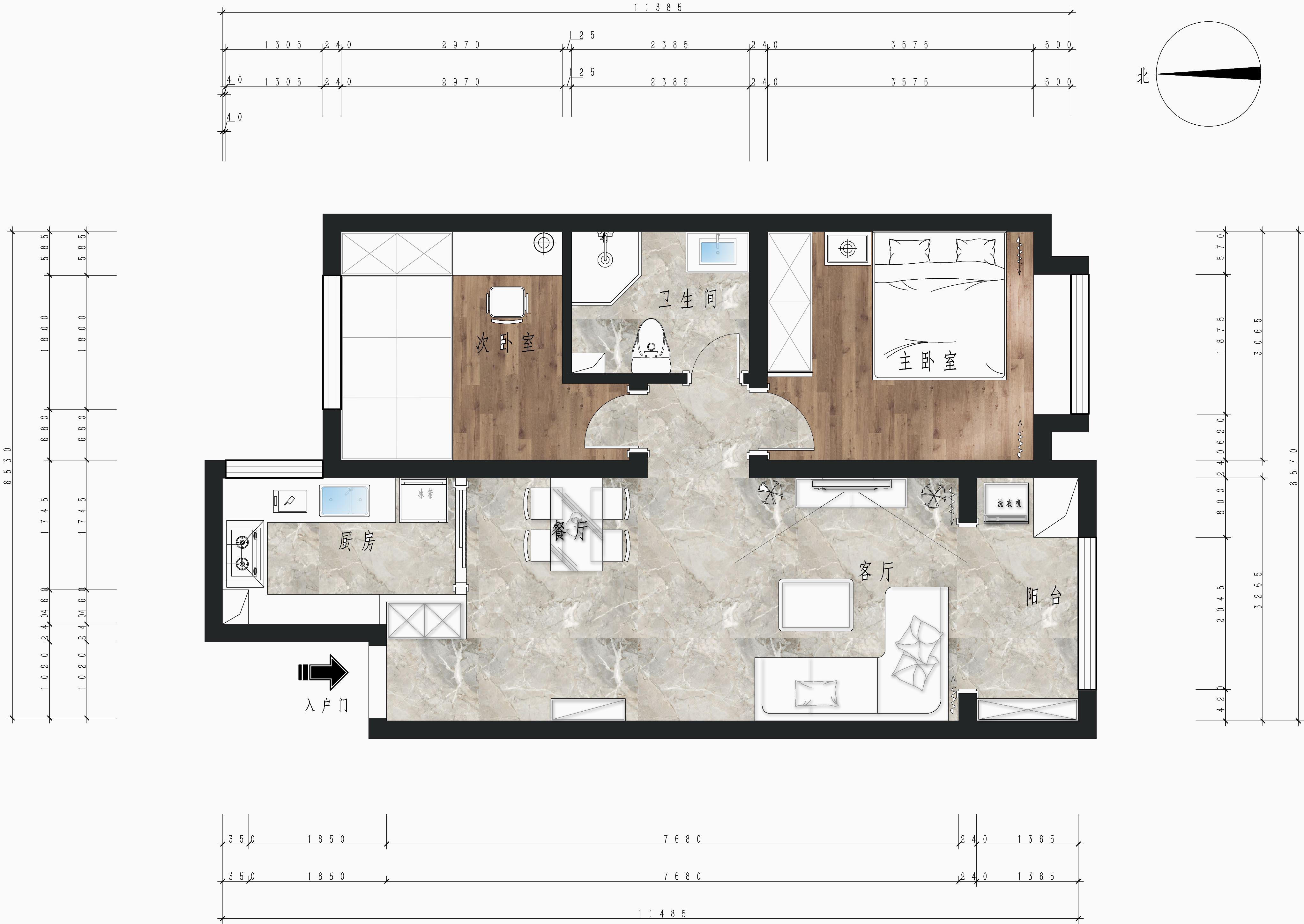 金隅和府 89㎡ 北欧风格装修设计理念