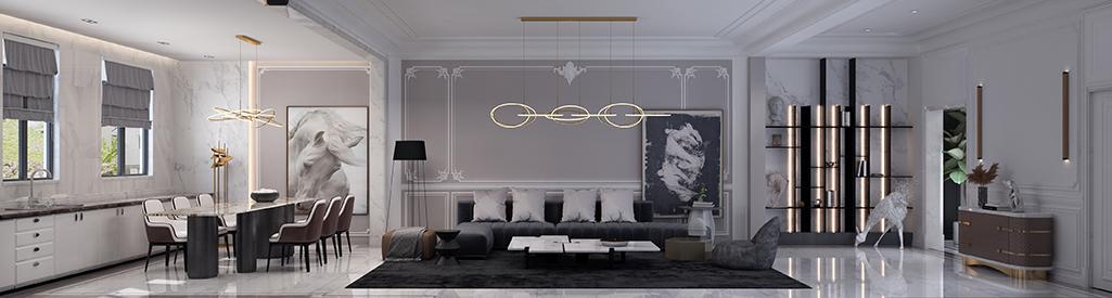 会展誉景联排别墅425.38㎡轻奢装修风格效果图装修设计理念