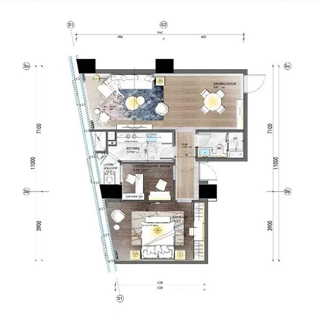 现代轻奢装修效果图丨万达CBD两居室80㎡装修案例装修设计理念