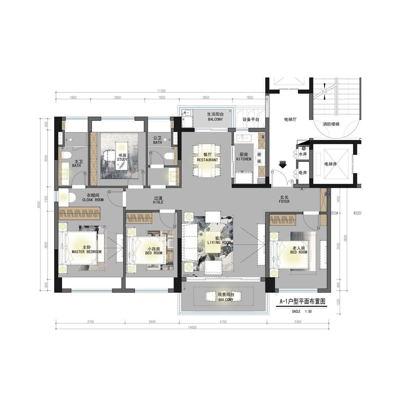 新中式风格装修效果图丨中央大道137㎡四居室装修案例装修设计理念