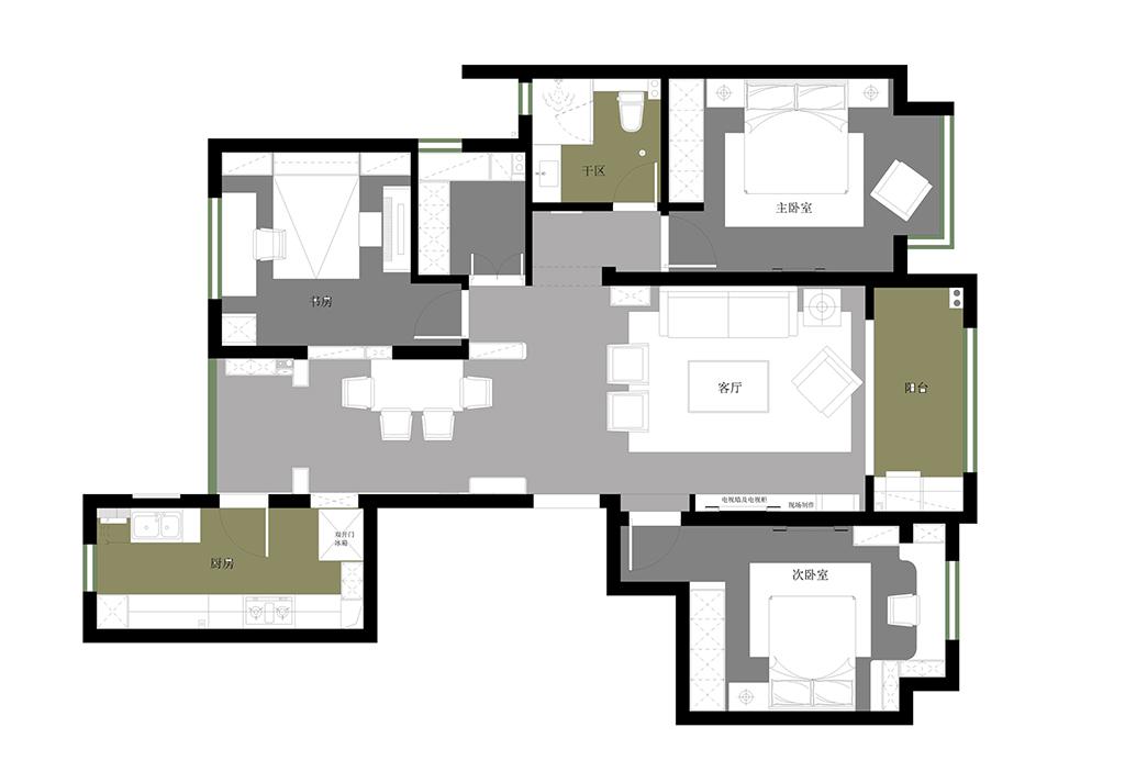 万达天樾8号楼 新中式装修效果图 四室两厅一厨两卫 148平米装修设计理念