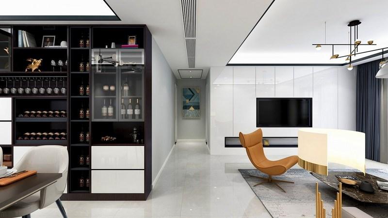 135平米四居室高端装修设计-客厅