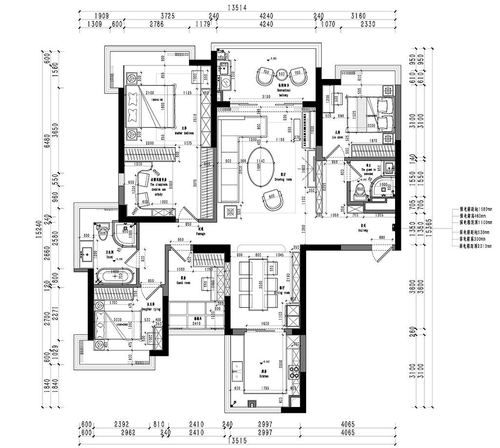 松山湖锦绣山河观园-160㎡四房简欧装修效果图装修设计理念