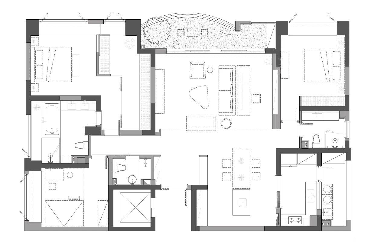松原北区-现代简约-126m²装修设计理念